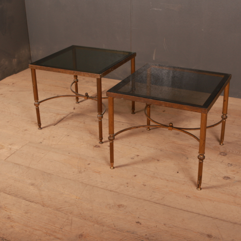 Pair of French Brass and Glass Tables