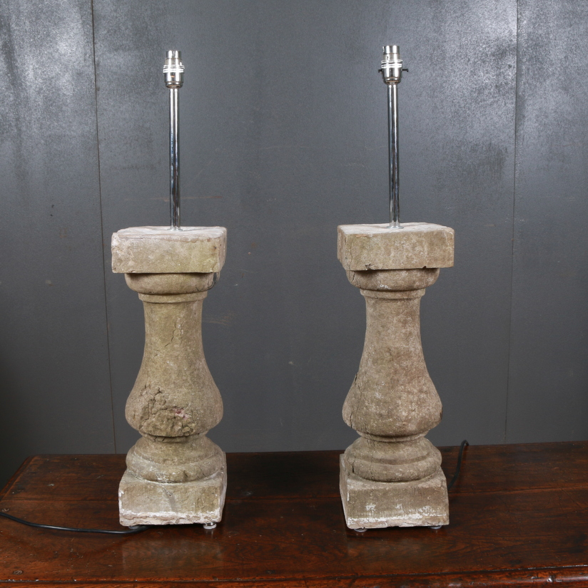 Pair of Limestone Balustrade Lamps