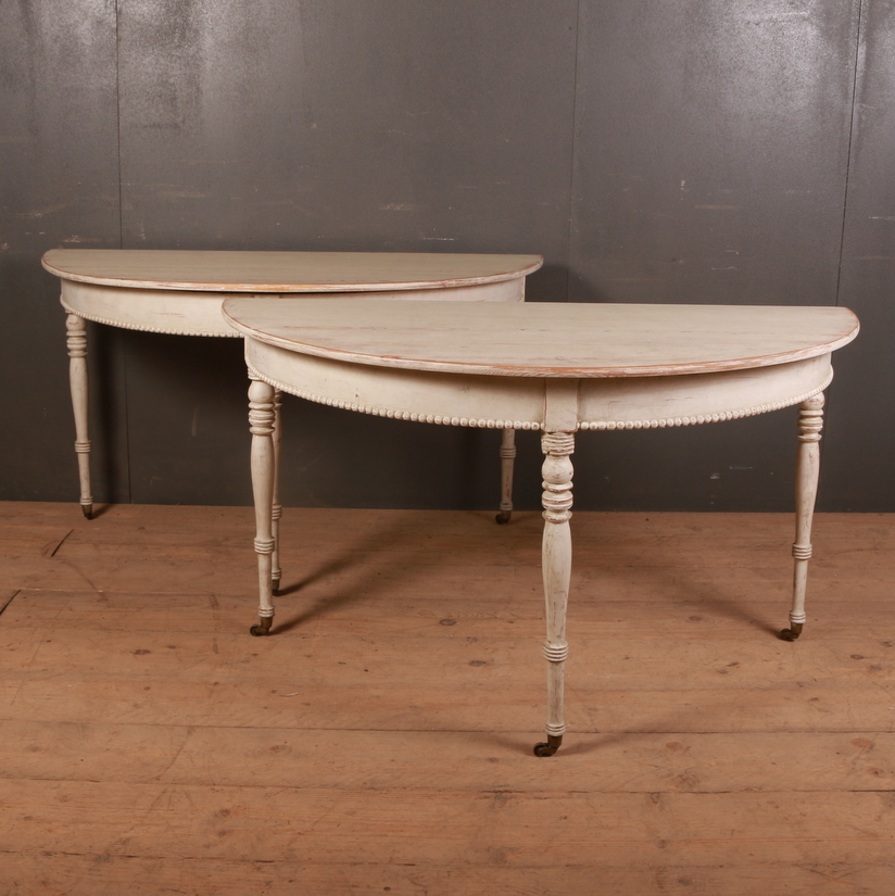 Pair of Swedish Demi-lune Console Tables