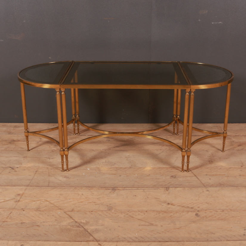 Set of 3 Brass and Glass Table