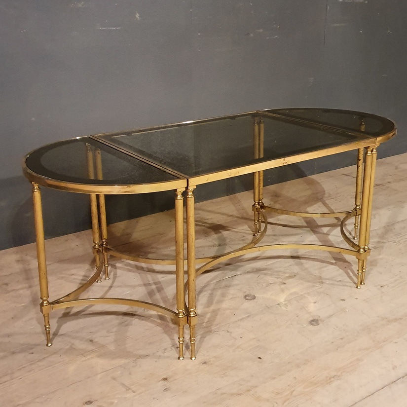 Set of 3 Brass and Glass Tables
