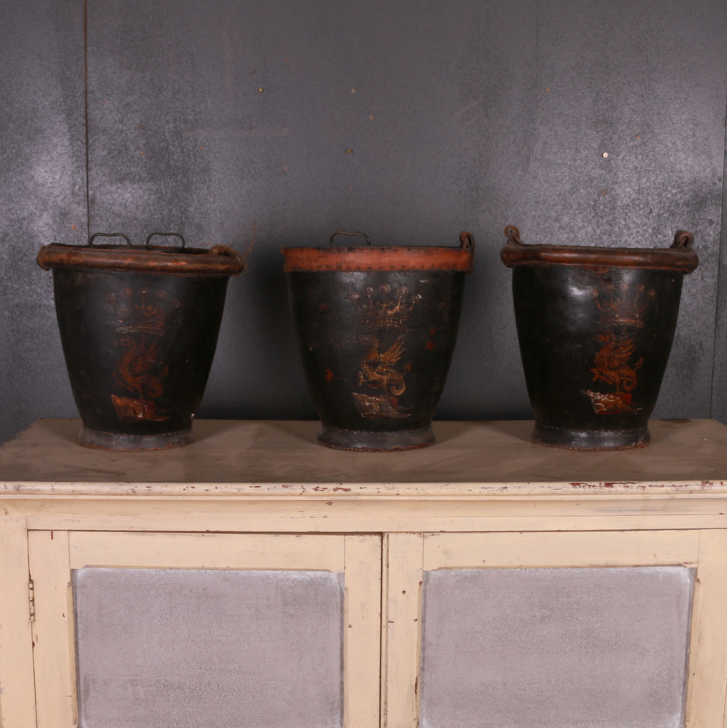 Set of Three Leather Fire Buckets
