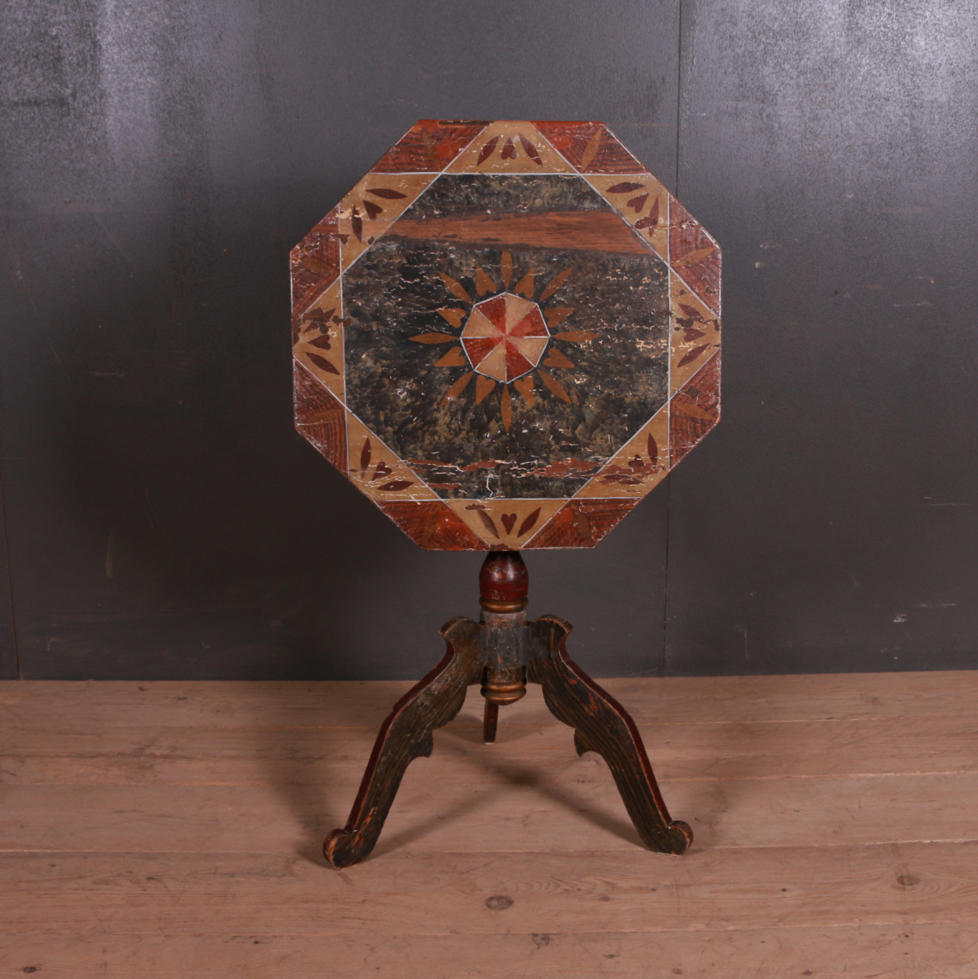 Swedish Decorated Tripod Table