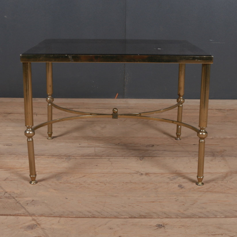 Wood Smoke Black Radford Dining Table: 1920s Brass And Glass Lamp Table