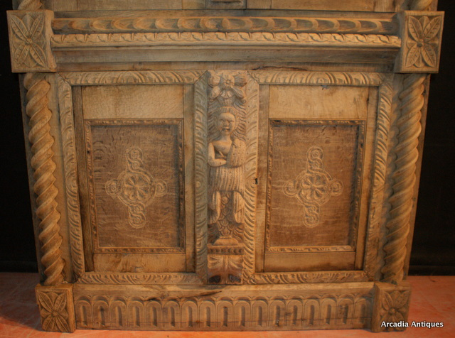 Blached Oak Carved Cupboard