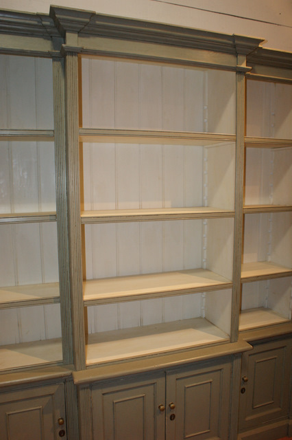 custom built break front bookcase