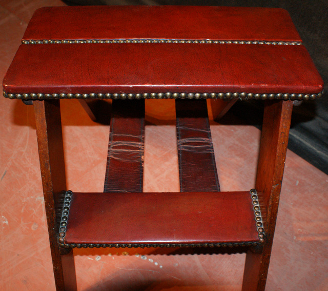Set of Leather and Mahogany Steps