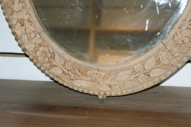 Bleached Oak Oval Mirror