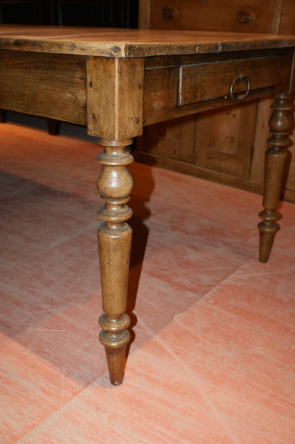 Large French Sycamore And Oak Farm Table Antique Farm