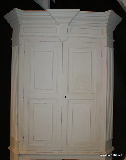 Architectural Painted Corner Cupboard
