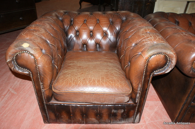 Brown Leather Chesterfield Chairs