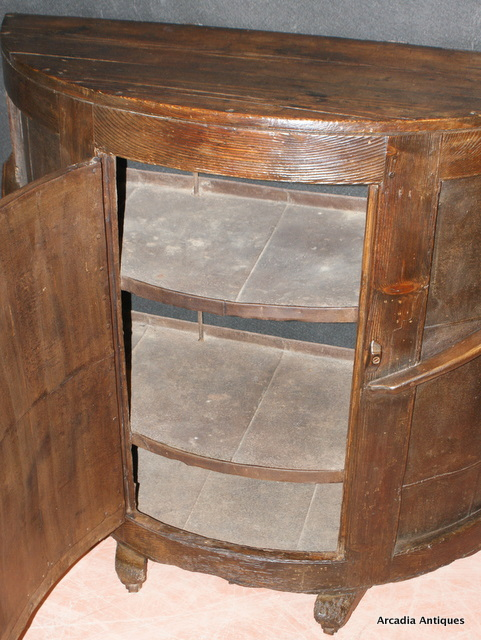 Pine and Metal Bowed Side Cabinet