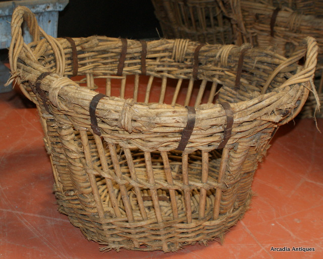 Collection of French Wicker Apple Baskets