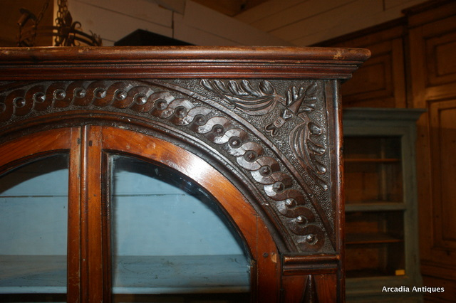 Carved Pine Hanging Cupboard.