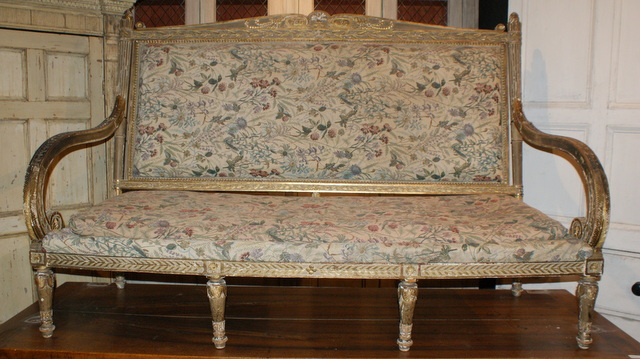 Carved Wood Sofa