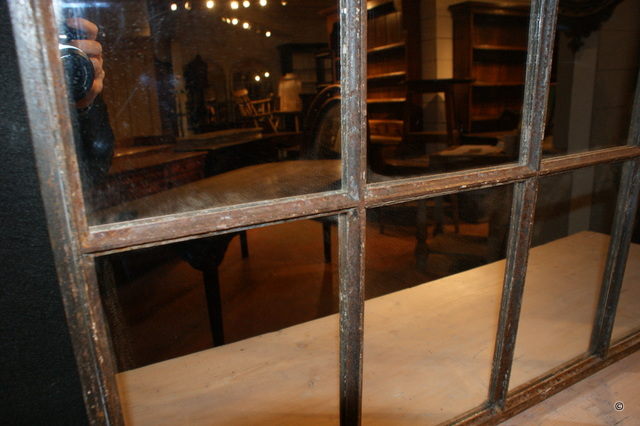 Antique Metal Window Mirror