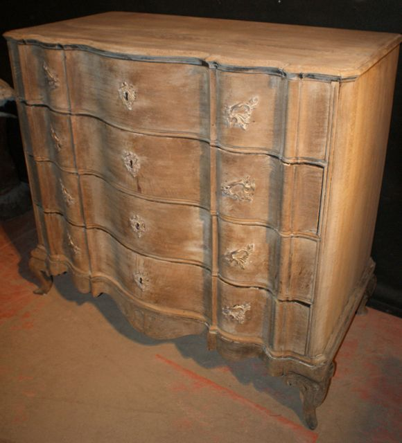 Bleached Oak Serpentine Commode