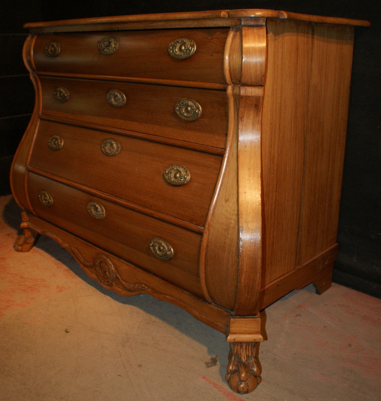 Antique Fruitwood Bombe Commode