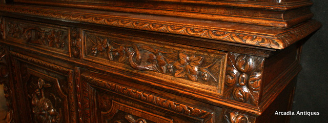Antique Carved Oak Hunt Cupboard