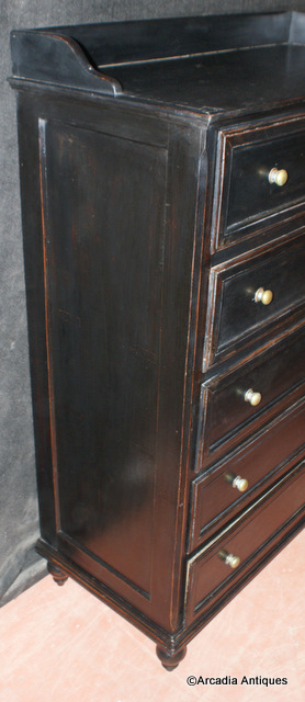 Painted Black Tall Chest of Drawers