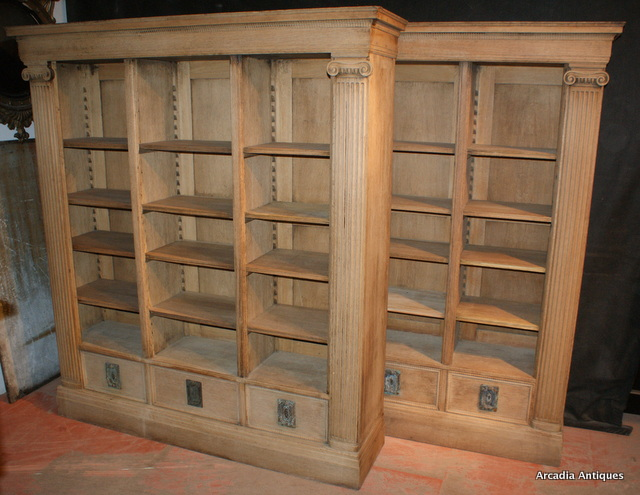 Fabulous Pair of Bleached Architectural Bookcases