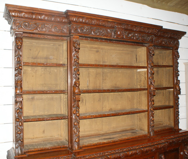 Impressive Carved Library Bookcase