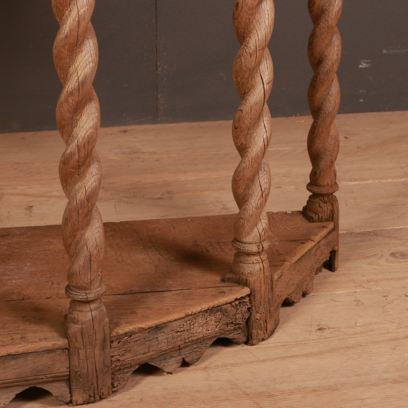 English Bleached Oak Console Table