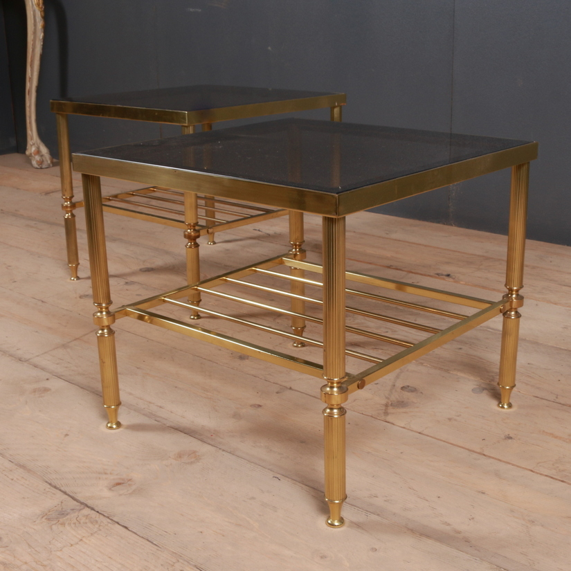 Wood Smoke Black Radford Dining Table: French Brass And Glass Lamp Tables