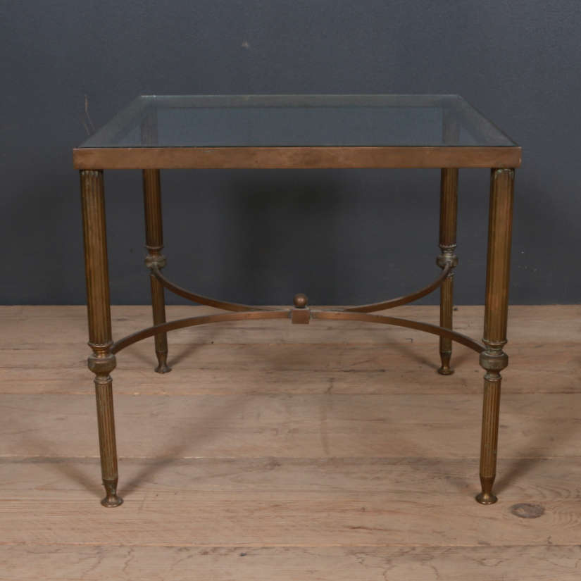 French Brass and Glass Lamp Tables