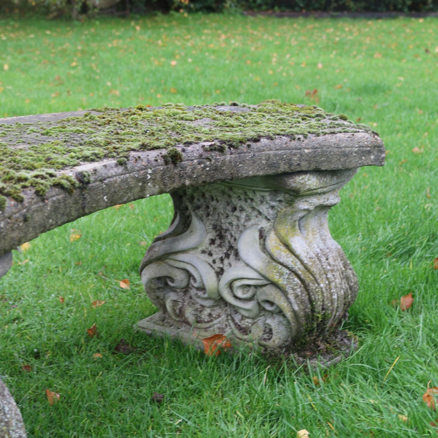 Reconstituted Curved Stone Bench