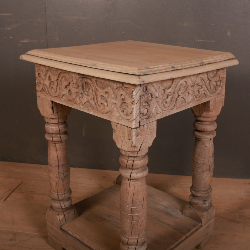 Carved Oak Lamp Table