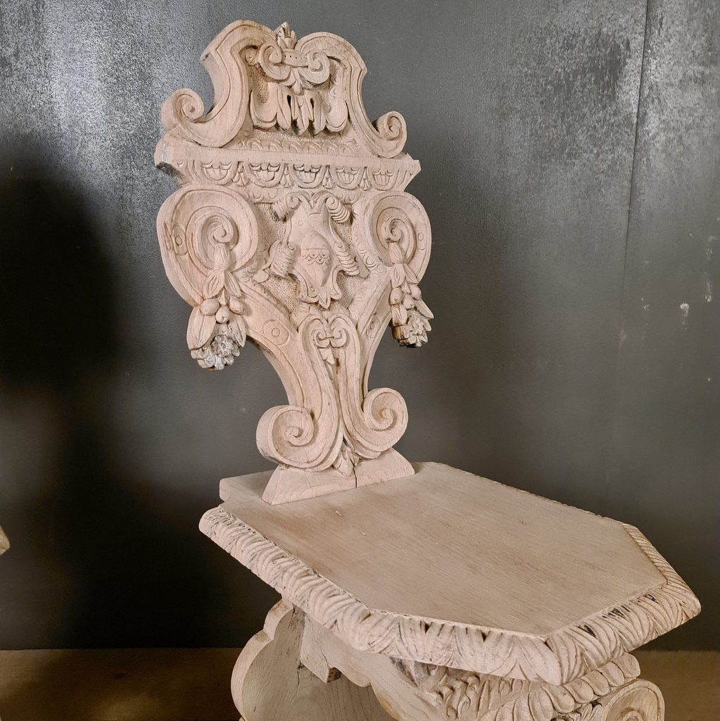 Italian Carved Oak Chairs