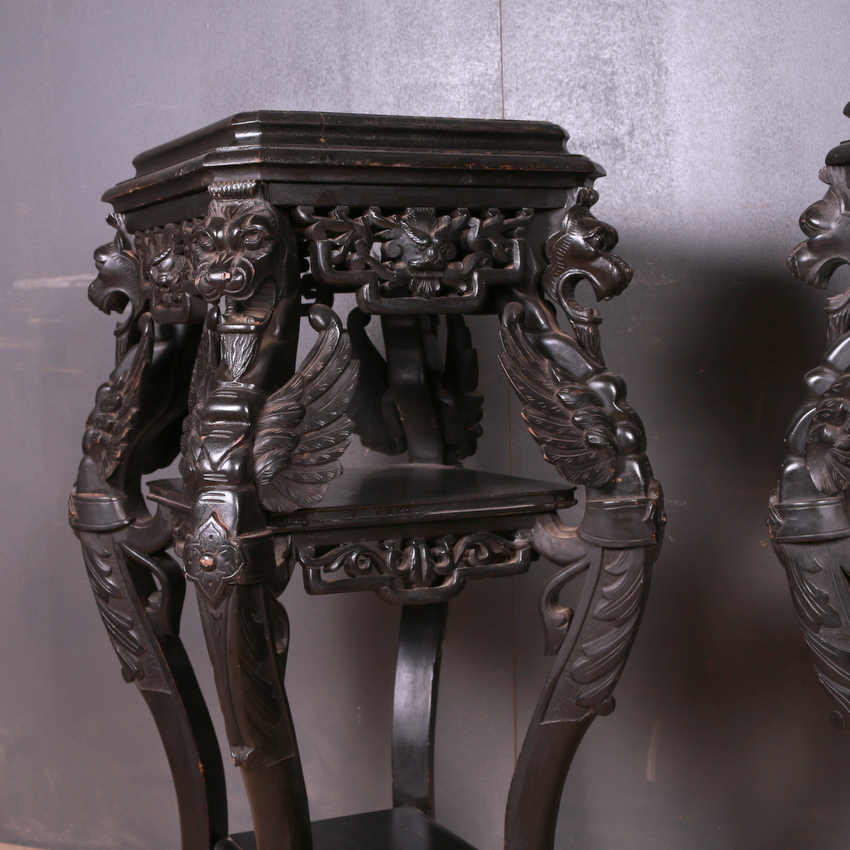 Pair of Oriental Country House Pedestals