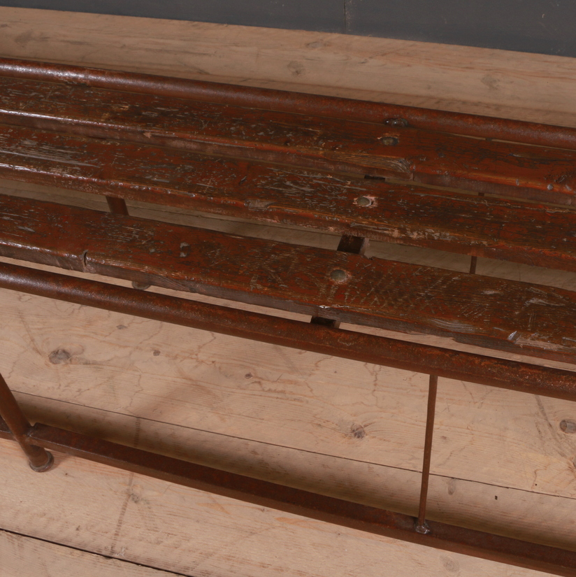 Pair of Industrial French Metal Benches